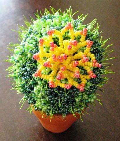Цветка схему, можно посмотреть в МК - Как сделать цветочки для кактусов.